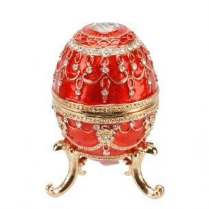 Large Red & Gold Metal Fab Style Egg Ornament 10 x 6.5 cm